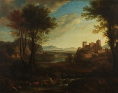 A Classical Landscape with Figures Crossing a Stream