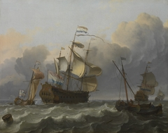 A Dutch Flagship with a Yacht Under Her Stern