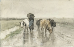 A Herdess with Cows on a Country Road in the Rain