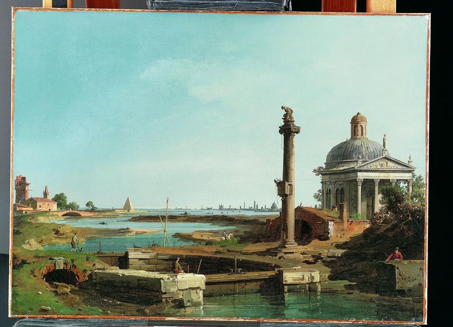 A Lock, a Column, and a Church beside a Lagoon