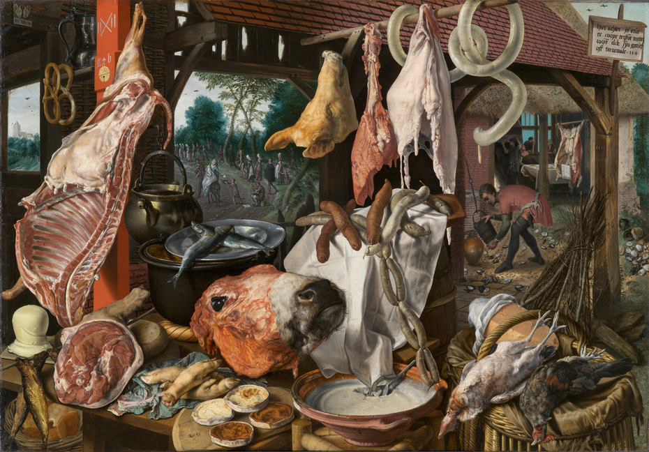 A Meat Stall with the Holy Family Giving Alms