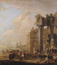 A Seaport with a Fountain and Ruins