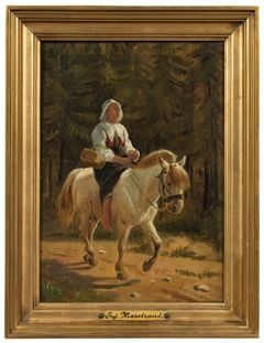 A Woman from Dalecarlia Riding Barefooted on a White Horse