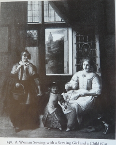 A Woman Sewing with a Serving Girl and a Child