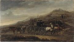 Allegorie op religieuze verdeeldheid, spotschilderij met wagen waaraan aan twee kanten door paarden wordt getrokken