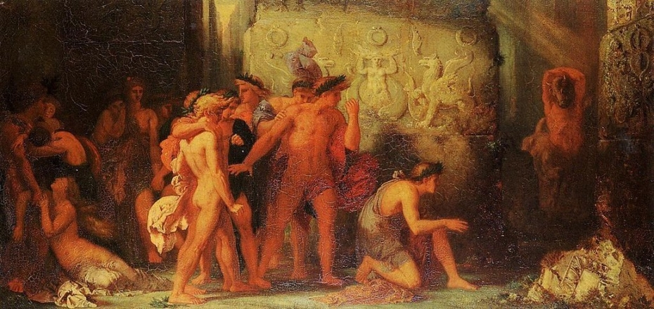 Athenians being Delivered to the Minotaur in the Cretan Labyrinth