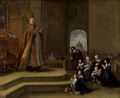 Bishop Rovenius blessing a Family (of Jacob van Wassenaer?)
