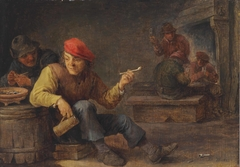 Boors drinking and smoking in an inn