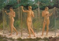 Boys Gathering a Fishing Net