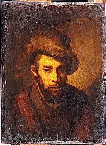 Bust of a man with a fur hat