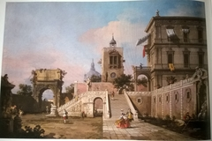 Capriccio of a Renaissance Palazzo with a monumental Staircase, a Clock Tower and the Arch of Titus beyond