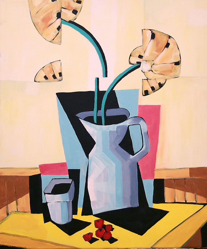 Cherries, Vase and Glass