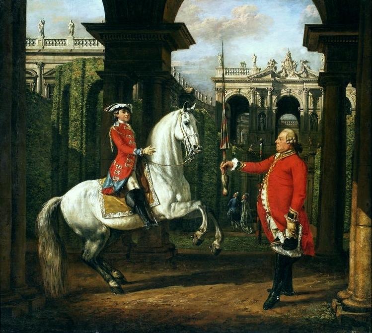 Colonel Piotr Königsfels teaching Prince Józef Poniatowski how to ride