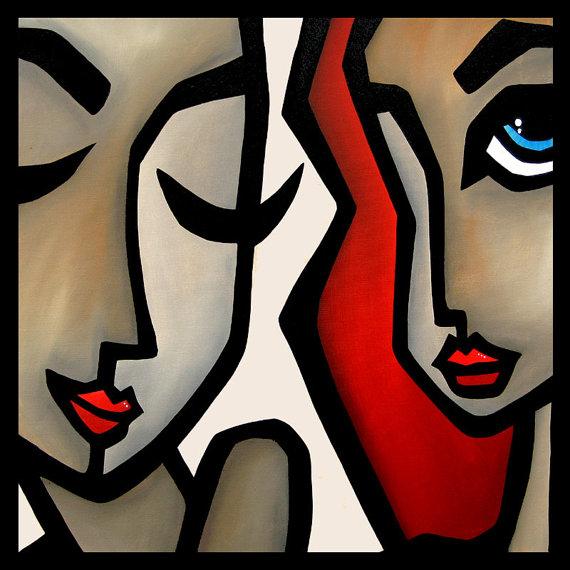 Confide - Original Abstract painting Modern pop Art Contemporary large Portrait FACEs by Fidostudio