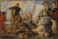 "Copy after Rubens's ""Wolf and Fox Hunt"""