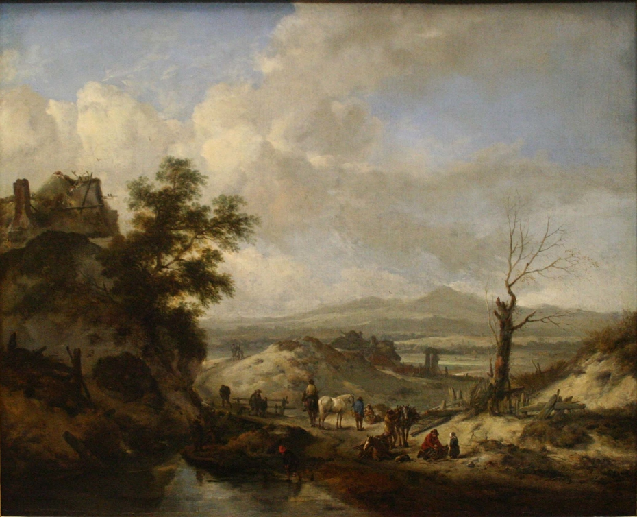 Dune landscape with travellers and wood gatherers