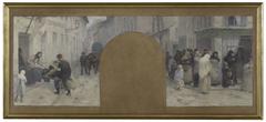 Esquisse pour l'Hôtel de Ville de Paris, cabinet du préfet : Le transport des blessés à l'Ambulance. Les queues devant un magasin durant le siège de Paris en 1870
