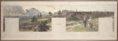 Esquisse pour la mairie de Bagnolet : Vues des environs de Bagnolet. L'Ouest - Charonne - Les Lilas