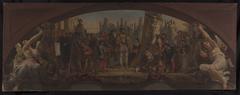 Esquisse pour le pavillon Denon au Louvre : Les quatre âges de la vie artistique en France - Présentation à François Ier des plans du château de Fontainebleau