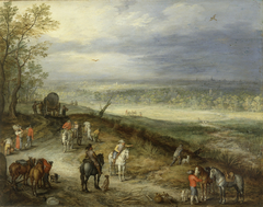 Extensive Landscape With Travellers on a Country Road