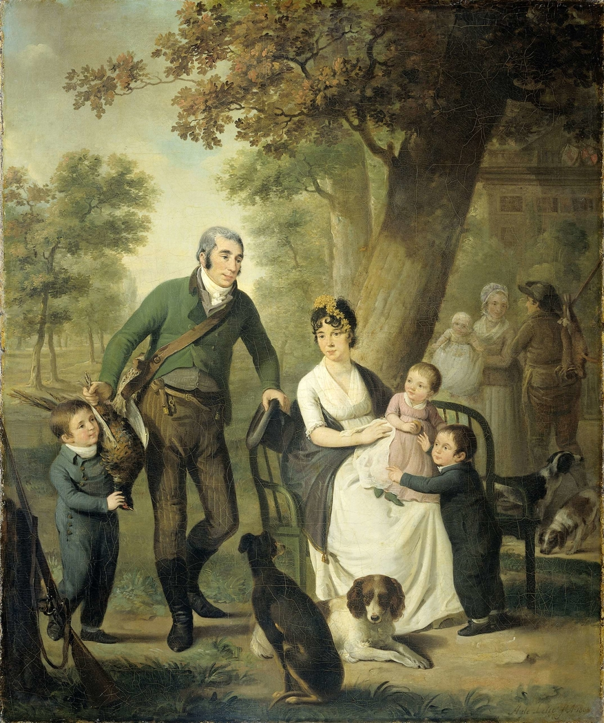 Family Portrait of Jonkheer Gysbert Carel Rutger Reinier van Brienen van Ramerus, his Wife and four of their Children at his Estate of Crailo