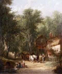 Figures outside a Tavern ('Outside the Inn at Fairfield')