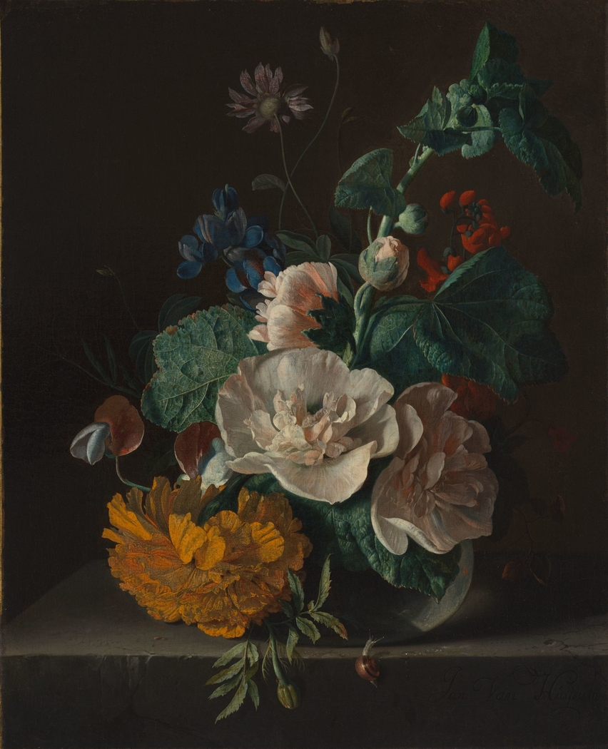 Floral Still Life with Hollyhock and Marigold