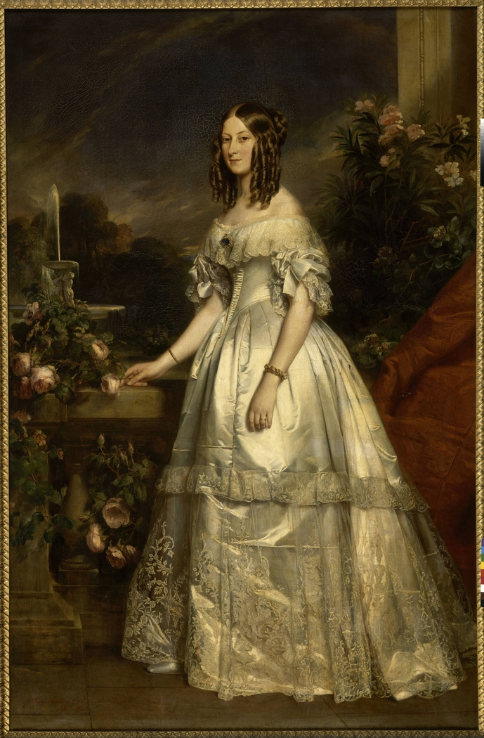 Full portrait of HRH The Duchess of Nemours by Winterhalter (Princess Victoria of Saxe-Coburg and Gotha)