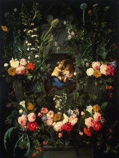 Garland of Flowers Around a Cartouche with Jesus and St John the Baptist as Children
