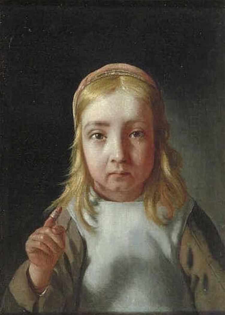 Girl with a bandaged finger - feeling