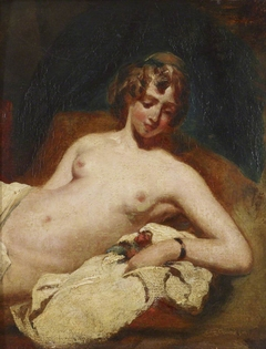 Half-figure of a reclining Female Nude on her side
