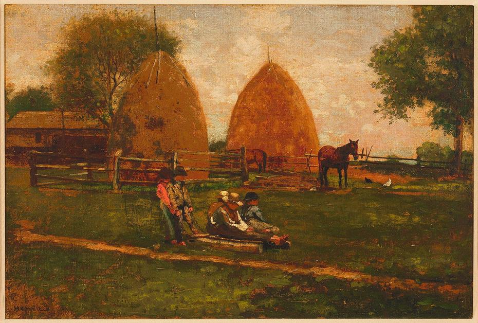 """Haystacks and Children"" Winslow Homer - Artwork on USEUM"