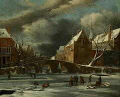 Het Spui en de Nieuwezijds Voorburgwal in de winter