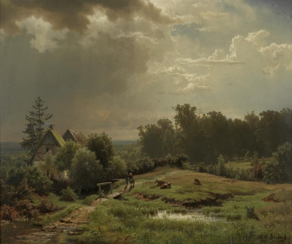 Heuvelachtig landschap met bewolkte lucht