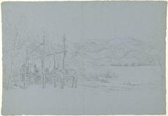 Heuvellandschap met prieel met vissers bij een meer