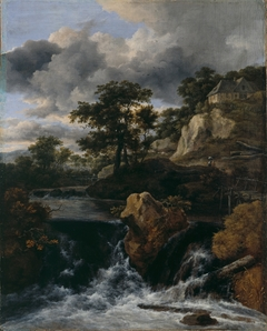 Hilly Landscape with Waterfall