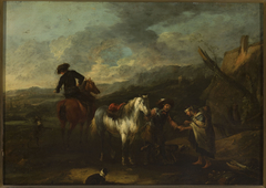 Horsemen and a beggar woman against landscape