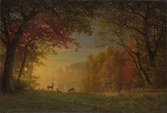 Indian Sunset: Deer by a Lake