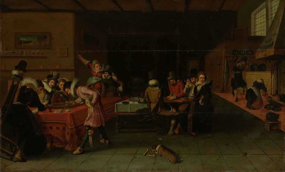 Interior of a Tavern or Brothel with People Drinking and Playing Trictrac