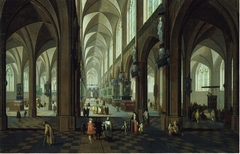 Interior of the Cathedral of Antwerp in daylight