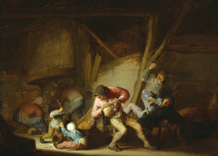 Interior with Drinking Figures and Crying Children