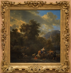 Italianate Landscape with Figures and Pack Animals on the Banks of a River