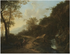 Italianate Landscape with Travellers crossing a Stream