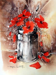 Jar with poppies