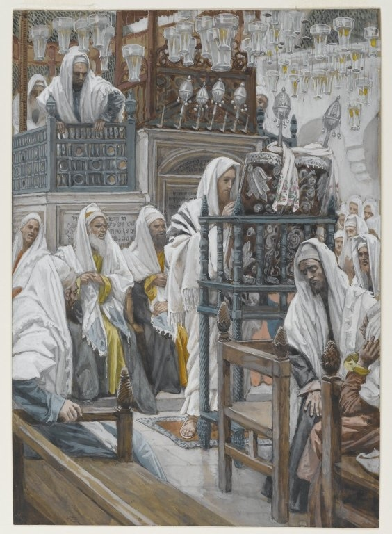 Jesus Unrolls the Book in the Synagogue
