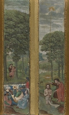 John the Baptist preaching and the Baptism of Christ