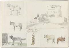 Karton waarop 6 kindertekeningen van dieren, een mens en een landschap geplakt zijn
