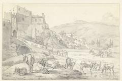 Koeien voor de Porta Sant'Angelo te Tivoli