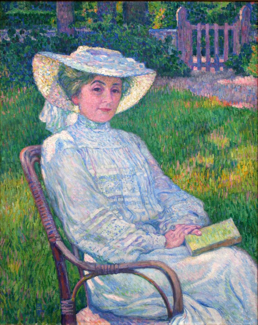 La dame en blanc lisant au jardin, à Mortgat