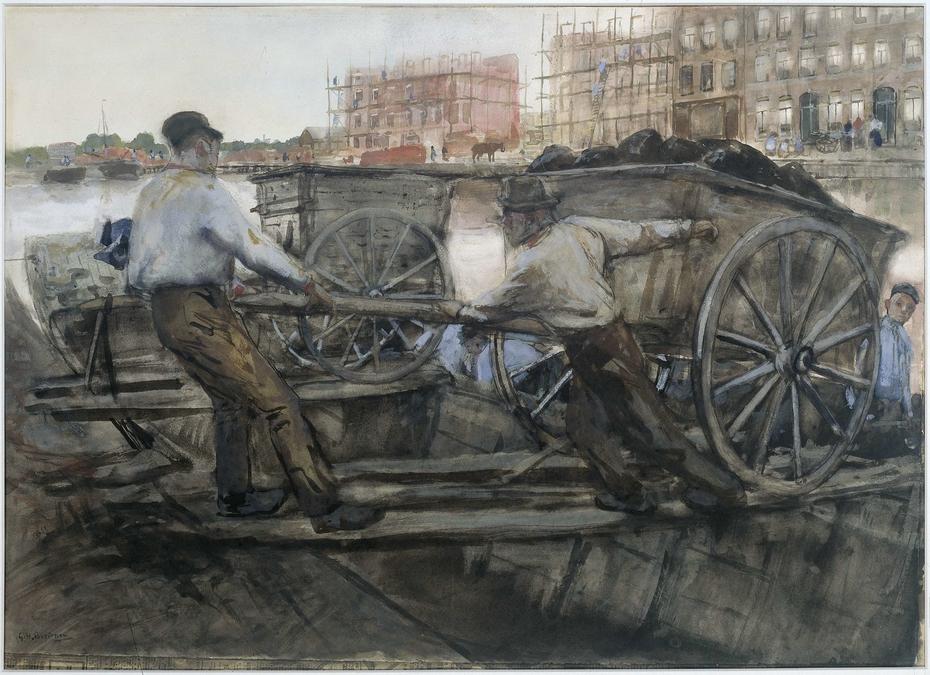 Labourers Pulling a Heavily Laden Cart on Jacob van Lennepkade, Amsterdam